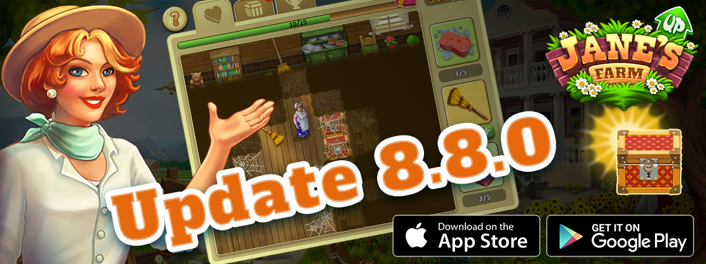 Update 8.8 of Jane's Farm is avaible on iOS and Android!
